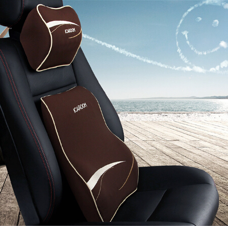 High Quality Car Pillow Set Car Headrest Neck Support Pillow Car Lumbar Back Support Pillow Space Memory Cotton Car Cushion
