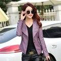 Nova de couro das senhoras Casaco curto parágrafo pequeno casaco Coreano Magro jaqueta mulheres motocicleta
