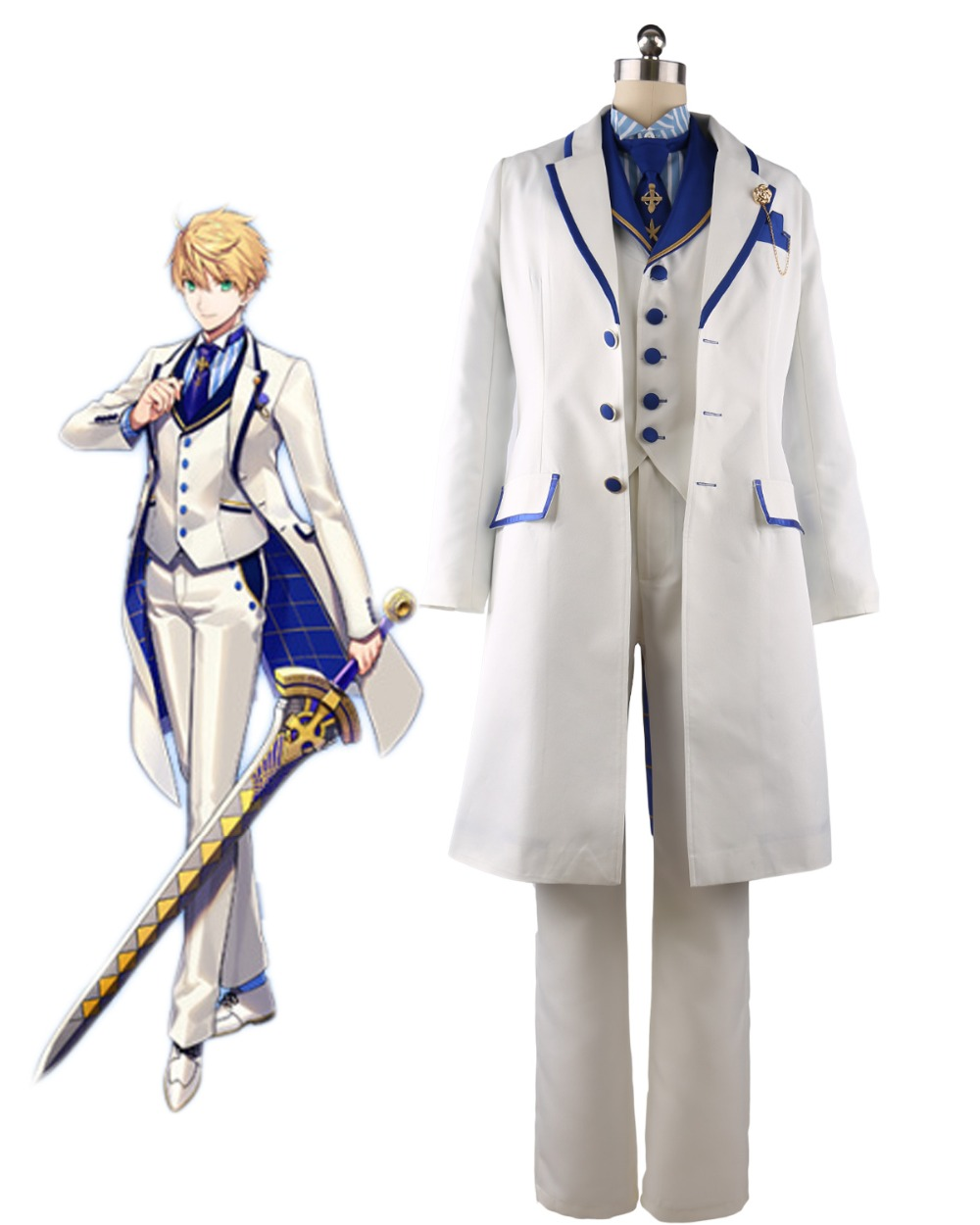 FGO Arthur Cosplay Fate Grand Order Saber King Arthur Cosplay Costume Custom Made Any Size