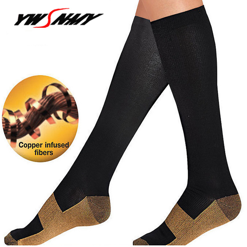 Mens Women Anti Fatigue Magic Socks Unisex Black Nude Anti-Fatigue Compression Soothe Tired Knee High Stockings