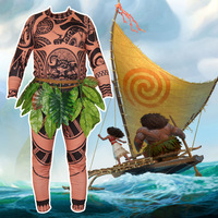 3pcs Movie Moana Princess Maui Cosplay Costume Adult Men Vaiana Maui Cosplay Costume For Men