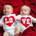 Bebê recém-nascido Unisex LO VE Gêmeos Do Bebê da menina do menino de Algodão de Manga Comprida Bodysuit Macacão Roupa Roupas