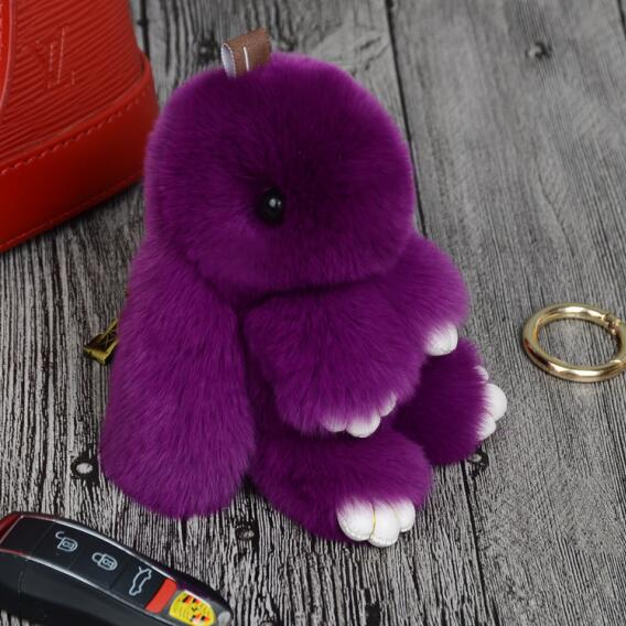 14cm Cute Pluff Bunny Keychain Rex Genuine Rabbit Fur Key Chains For Women Bag Toys Doll Fluffy Pom Pom Lovely Pompom Keyring 5