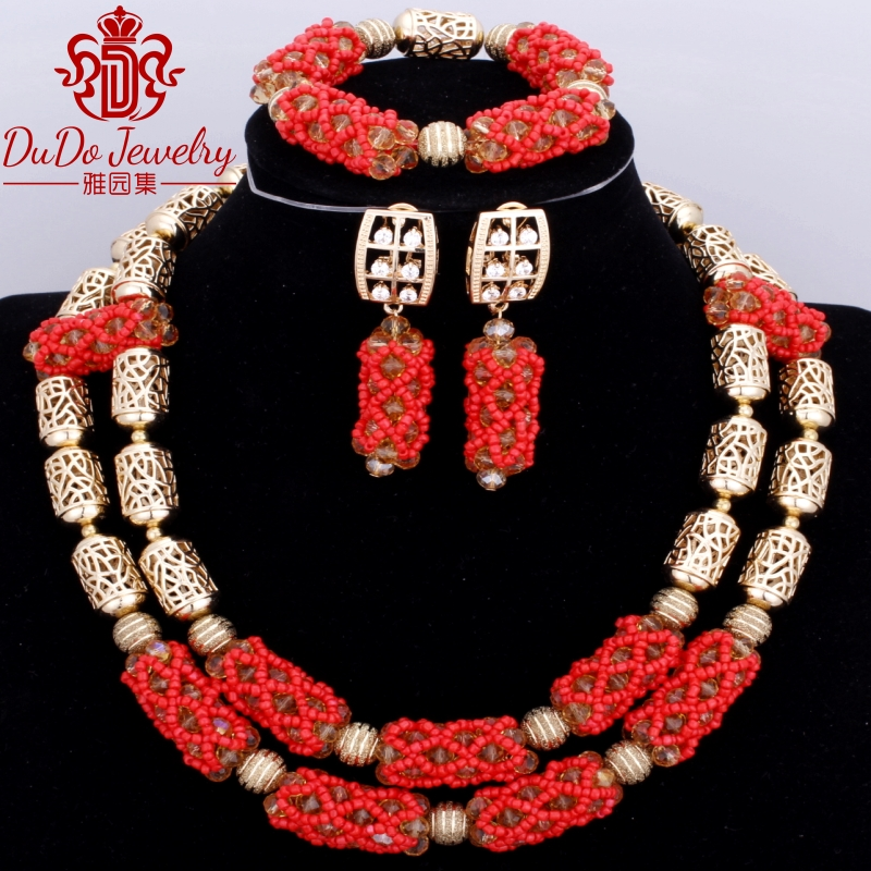 Luxury Nigerian Beads Copper Necklace Jewelry Set High Quality African Crystal Jewellery set Red Rose Arabic Antique Jewelry SetLuxury Nigerian Beads Copper Necklace Jewelry Set High Quality African Crystal Jewellery set Red Rose Arabic Antique Jewelry Set