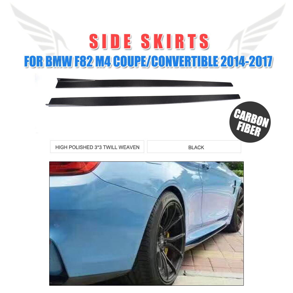 2pcs set carbon fiber side skirts extension lip aprons for bmw 4 series f82 m4 coupe 2014 2017 car styling