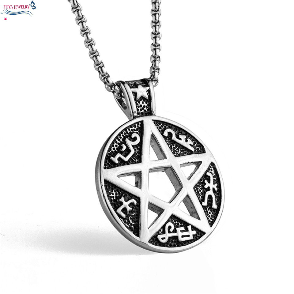 купить New fashion supernatural pentagram star geometric necklaces&pendants men Stainless steel chain mysterious totem necklace jewelry недорого