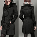 Women's Brand Elegant Solid Color Trench With Sashes Women Pocket Coat Causal Street Outdoors Coats Autumn Winter Plus Size S-XL
