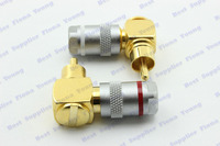 4 Pcs Lot New High Quality Goldplated RCA Male Plug Right Angle Connector For 6 5mm