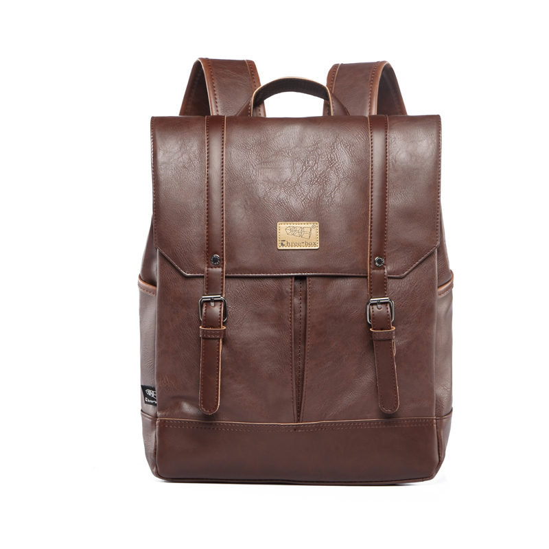 ФОТО Designer Men's Backpack Fashion Pu Leather Backpack Men Business Casual Laptop Backpack School Bag for Men Travel Vintage Bags