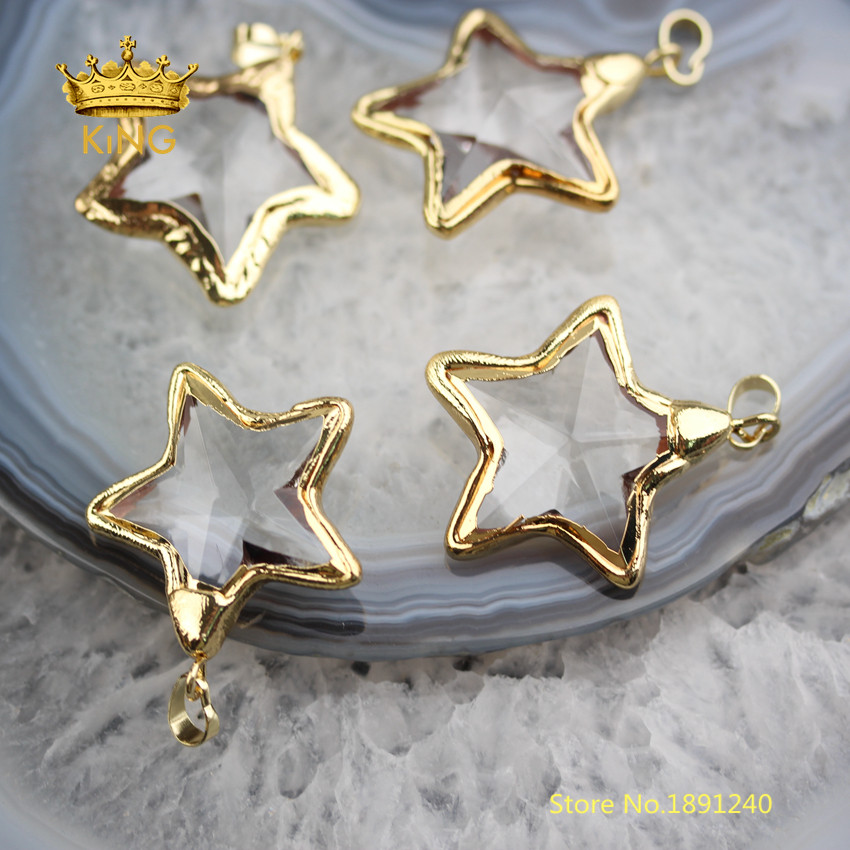 Image 3 - 10PCS Star Shaped Bezel Glass Pendants Crafts Earrings,35mm Faceted Clear Glass Plated Gold Edged Charms Necklace Wholesale YT30-in Pendants from Jewelry & Accessories
