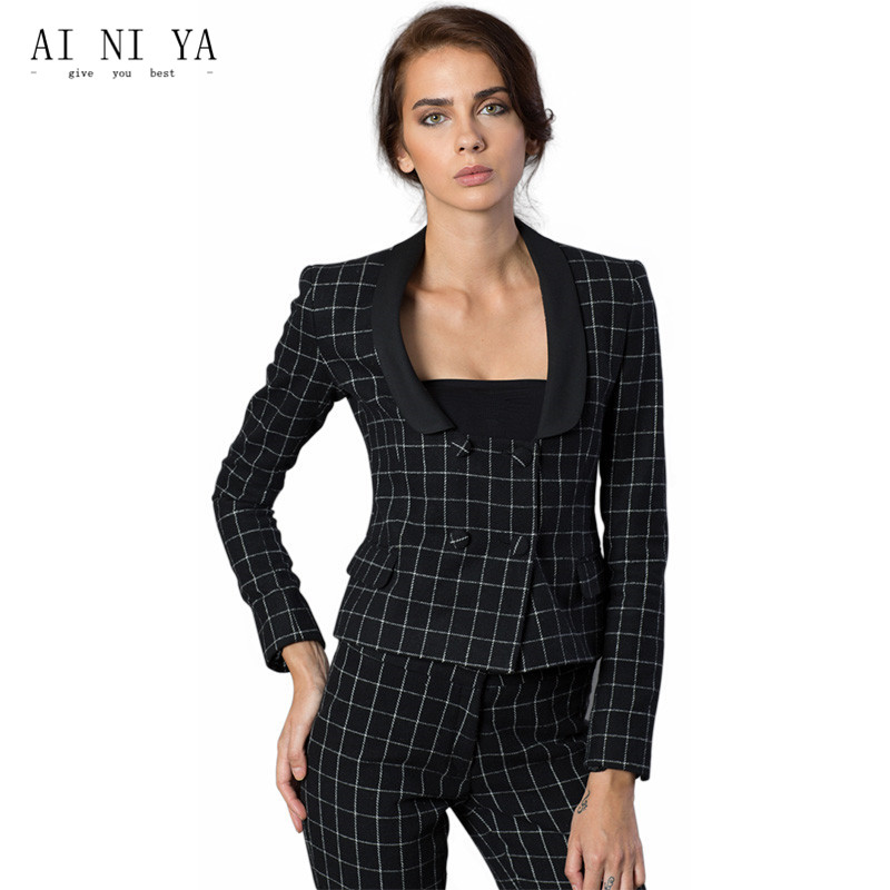 Black and White Plaid Pattern Women Business Suits Formal Office Suits Work Double Breasted Female Trouser Suits Custom Made New