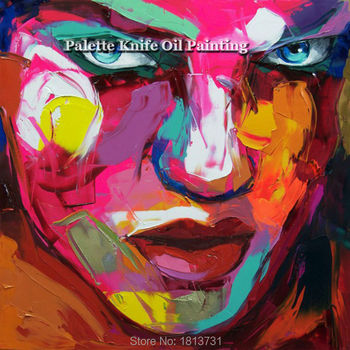 Hand painted Francoise Nielly Palette knife portrait Face Oil painting Character figure canva wall Art picture15-53