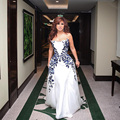 Najwa Karam A-Line White Celebrity Dresses 2017 Arabic Dubai Elegant Evening Party Gowns Embroidery Prom Dress Vestido Longo