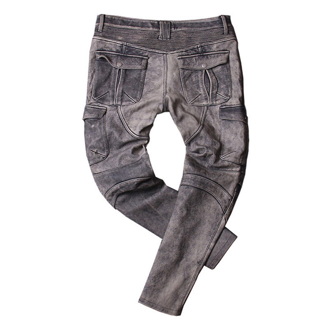 2020 Vintage Grey Men American Casual Style Motorcycle Leather Trousers Plus Size 4XL Genuine Thick Cowhide Pants FREE SHIPPING 5