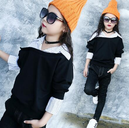 Kids Girls T-shirt Long sleeve Casual Spring Autumn Tops Fashion Patchwork Children Clothes Teenage Girls Shirt 4 6 8 10 12 14 Y