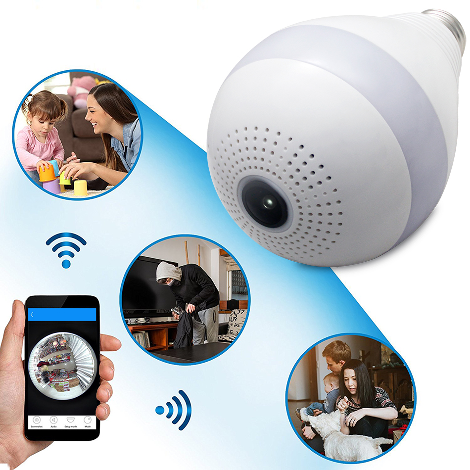 New 960P 360 Degree Wireless IP Camera Bulb Light FishEye Smart Home CCTV 3D VR Camera 1.3MP Home Security WiFi Camera Panoramic new ip camera network camera vr 360 degrees wifi wireless 3d fisheye panoramic light camera network light bulb home security