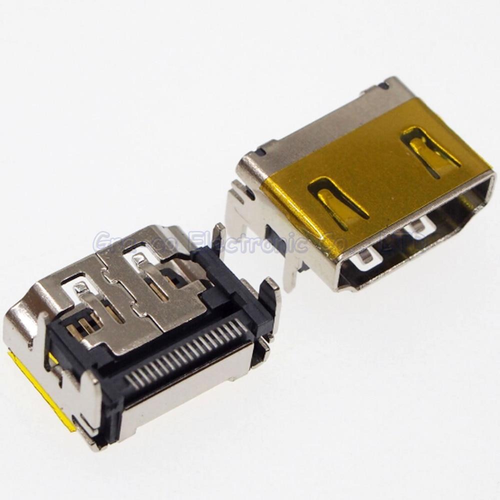 5pcs 19Pin HDMI Jack HDMI Female Socket 180 degree SMD Pin 4 DIP Foot with film
