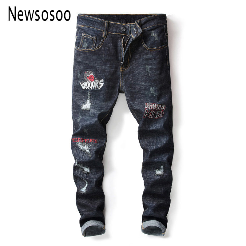 European American Style fashion brand mens jeans luxury Men straight denim trousers hole zipper Slim black jeans for men