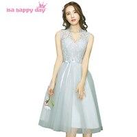 Grey Short Bridesmaid V Neck Bridesmaids Bridal Women Tulle Tea Length Elegant Party Dress 2017 Under