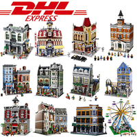 DHL Shipping City Street Model Green Grocer Set Compatible Legoings Self Locking Street View Bricks DIY Gifts Toys