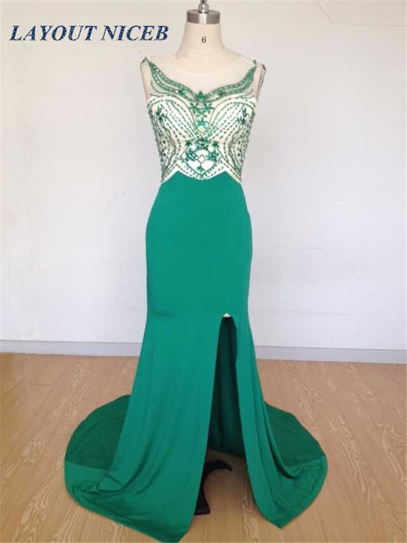Real Photos Scoop Neck Beading Mermaid Green Evening Dresses GownsLong robe de soiree Sexy Split Custom