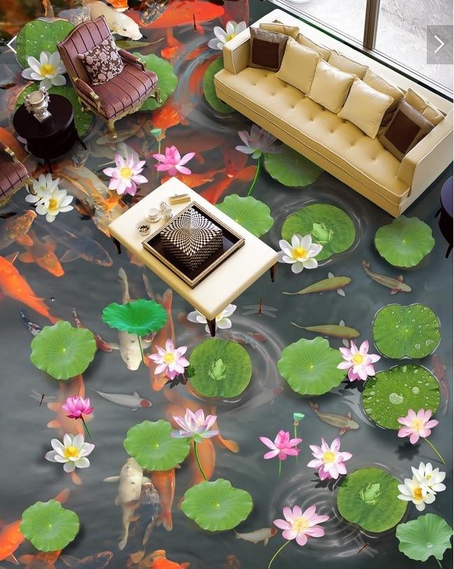 ФОТО 3 d pvc flooring custom wall paper sticker 3d Large lotus pond carp 3d bathroom flooring paintings photo 3d wall mural wallpaper