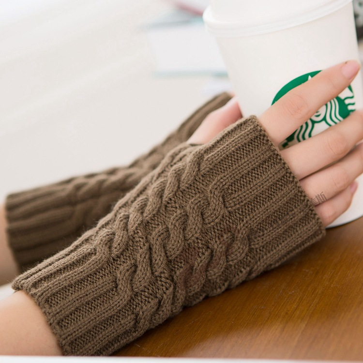 Women Winter Fingerless Gloves Long Thics