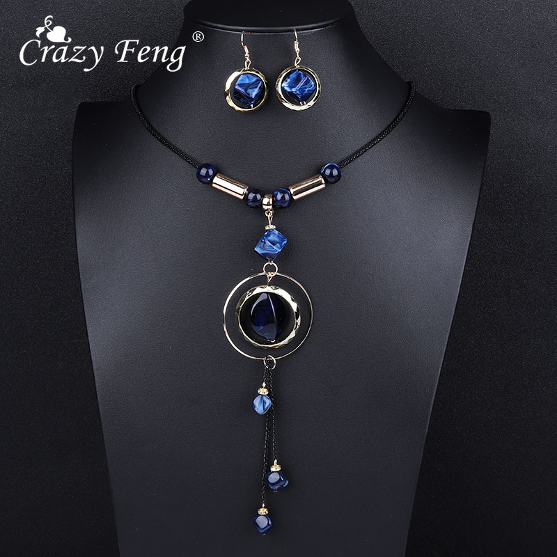 Crazy Feng Luxury AcrylicWedding Jewelry Sets For Women Red Blue Long Round Tassel Pendant Necklace Drop Earrings Sets Gift