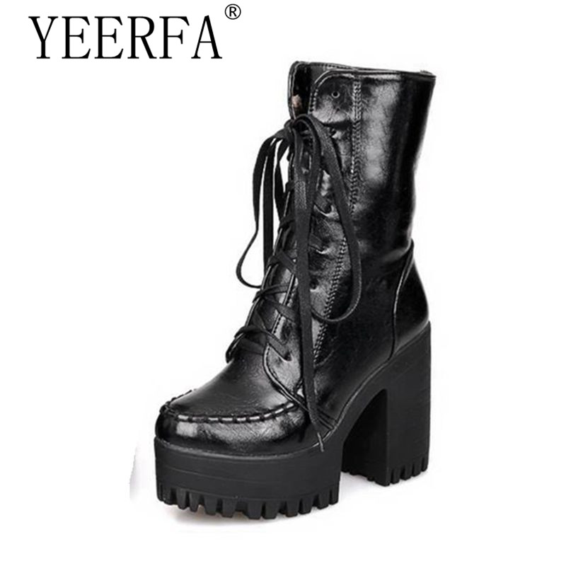 YEERFA size 35-43 New Spring Autumn Winter Hot sale Punk Womens shoes Ankle boots Platform Lace up Fashion Black Red Cool Hot