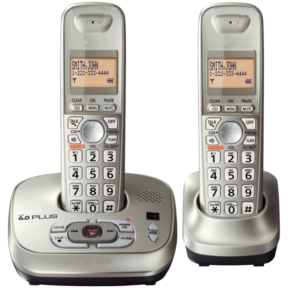 купить 2 Handsets KX-TG4021 digital Cordless Phone with Answering System Dect-6.0 silver недорого