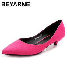 BEYARNE big size33.34.41 new 2018 women HIGH quality pointed toe 3cm low-heel pump female red bottom all match career shoes