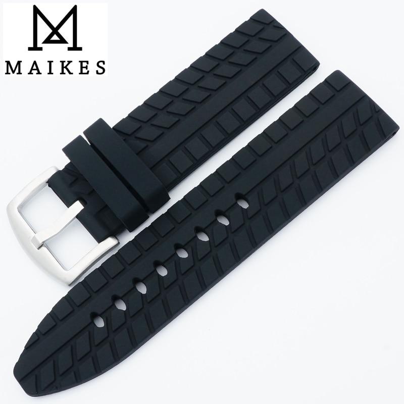MAIKES Nova Chegada 24mm Faixa de Relógio de Borracha Homens de Alta Qualidade Preto Pneus 3D Grão de Silicone Pulseira de Relógio Para Panerai