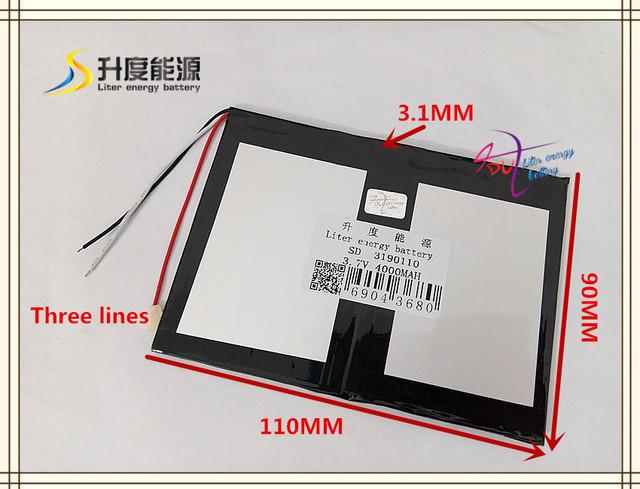 3.7 V 4000 mAH 3190110 (bateria de iões de lítio polímero) bateria Li-ion para tablet pc banco de energia móvel orador