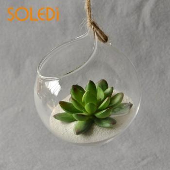 Jarrón de cristal colgante europeo, jarrón de vidrio terrario colgante, contenedor de bolas, decoración de jarrón de cristal para interiores, jarrón colgante para decoración del hogar 1 unidad