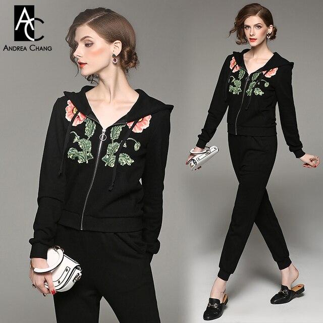 Fleur Fleur Feuille Tenue Femme Broderie Rose Printemps Automne Noir Noir Vert IwXCCR