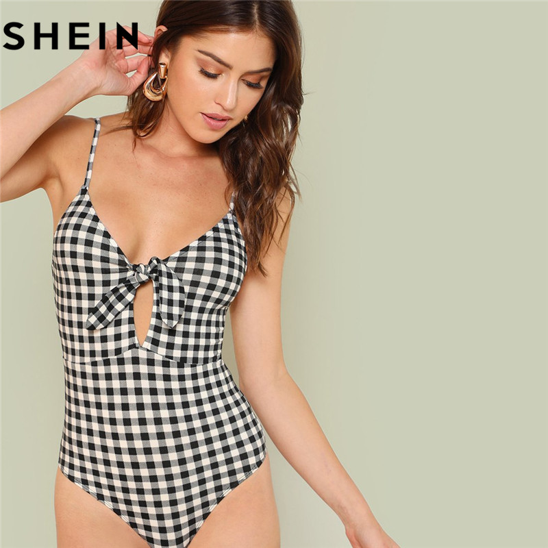 SHEIN Sleeveless Spaghetti Strap Sexy Backless Summer Women Bodysuits Mid Waist Deep V Plaid Cut Out Knot Skinny Cami Bodysuit 1