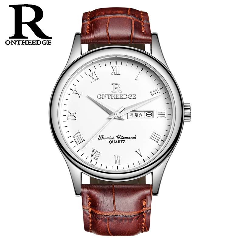RONTHEEDGE Fashion Mens Quartz Watch Casual Auto Date Day Week Wristwatches Leather band Watches for Men with gift box RZY010 fashion men s horloges mannen roman auto day quartz stopwatch sport men s watch mens wirst watches gift box free ship