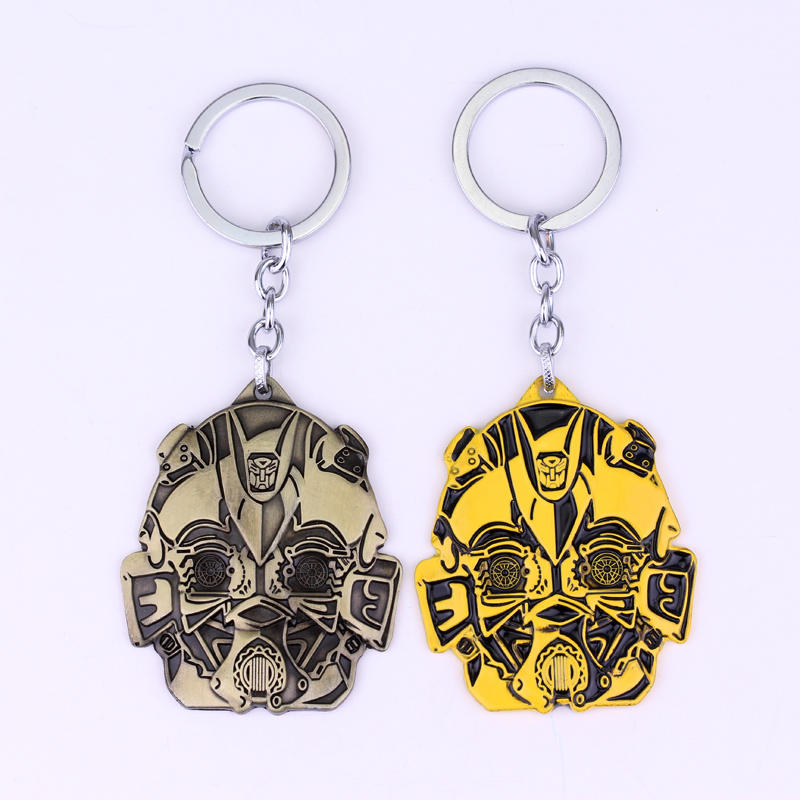 dongsheng Fashion Jewelry Movie Series Transformation Robot Mask Keychain High Quality Hornet Bumblebee Mask Metal Men Keychain image