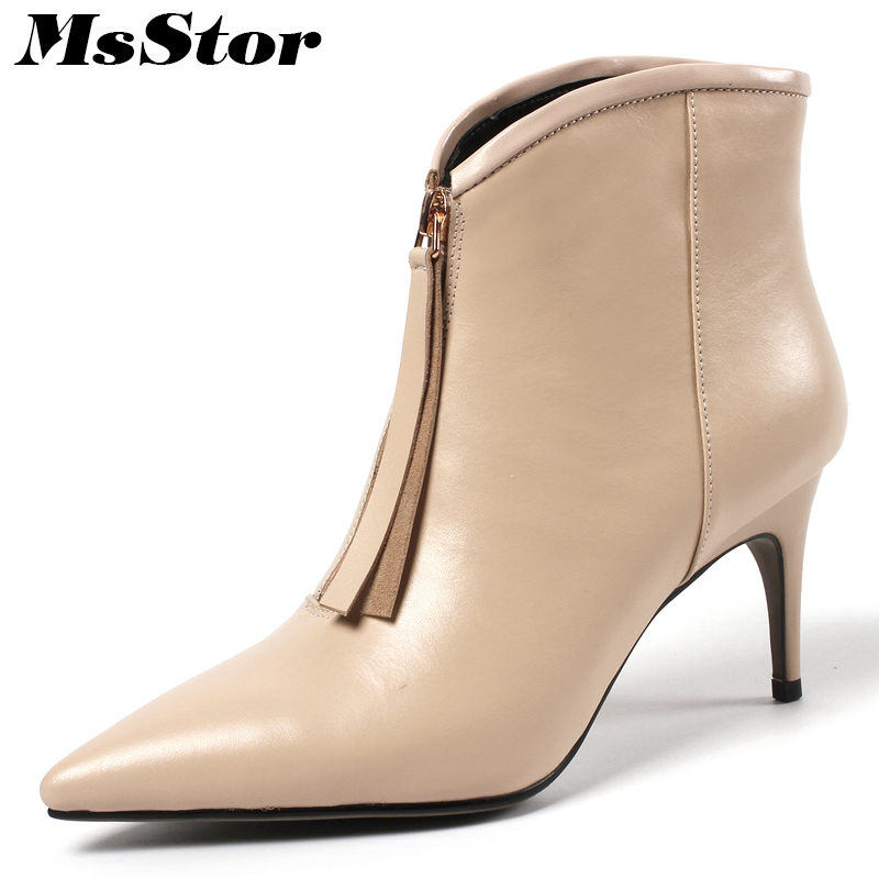 MsStor Women Boots Hot Selling Pointed Toe High Heel Ankle Boots Women Shoes Genuine Leather Thin Heels Zipper Boot Shoes Girl xiangban handmade genuine leather women boots high heel ankle boots pointed toe vintage shoes red coffee 6208k11