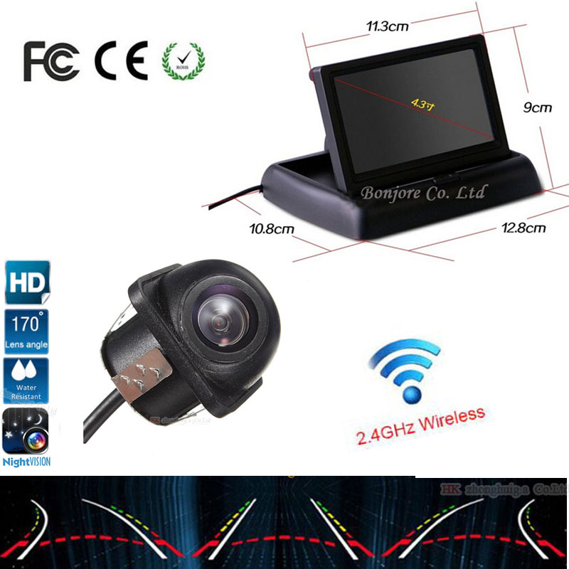 Moniteur de miroir pliable de 4.3 pouces avec caméra de recul de voiture trajectoire dynamique mobile lignes de guidage de stationnement Parking pour vw audi