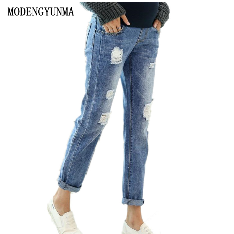 MODENGYUNMA Maternity Clothing Straight Jeans Pregnant Trousers Ripped Hole Pregnancy Jeans Belly Pants Maternity Overalls NEW brand 2017 new fashion men s straight flanging nine points trousers big embroidered jeans black and blue jeans male m xxl