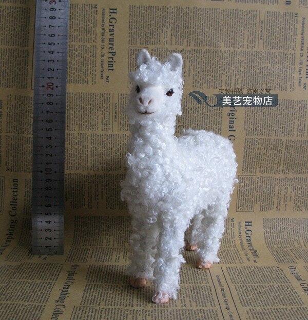 simulation sheep , white alpaca model,polyethylene&fur 20x8x24cm handicraft toy prop,home decoration Xmas gift b3800 beautiful simulation white fox toy handicraft polyethylene