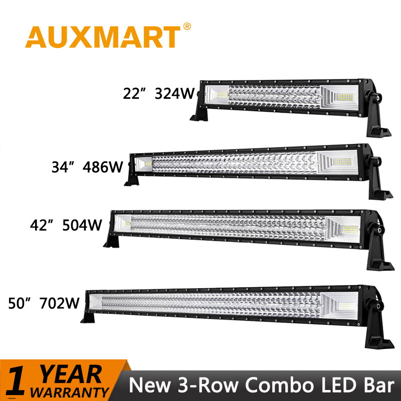 Auxmart 702W 594W 486W 324W LED Light bar Offroad 50 42 34 22' LED Work Light Combo Fog Lamp Bar Working Driving ATV SUV 4x4 auxmart triple row 22 34 42 50 curved