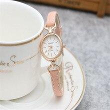Лидер продаж Gogoey Марка розового золота тонкий кожаный часы женские Кристалл платье кварцевые наручные часы Relojes Mujer go4407