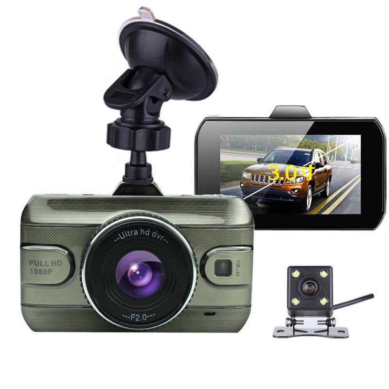 2017 New 3.0 inch Dual Lens Car Dvrs Full HD 1080P Car Dvr Video Recorder Car Camera Dash Cam Support Rear View Backup Camera