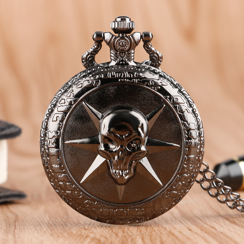 Cool Black 3D Skull Hot Game Cross Firewire Theme  Quartz Pocket Fob Watch With Necklace Chain