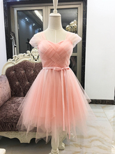 Elegant Dress Women for Wedding Party Cheap Girl Short Bridesmaid Dress Sexy Ball Gown Mini Criss-Cross Pink Color Elastic Back купить дешево онлайн
