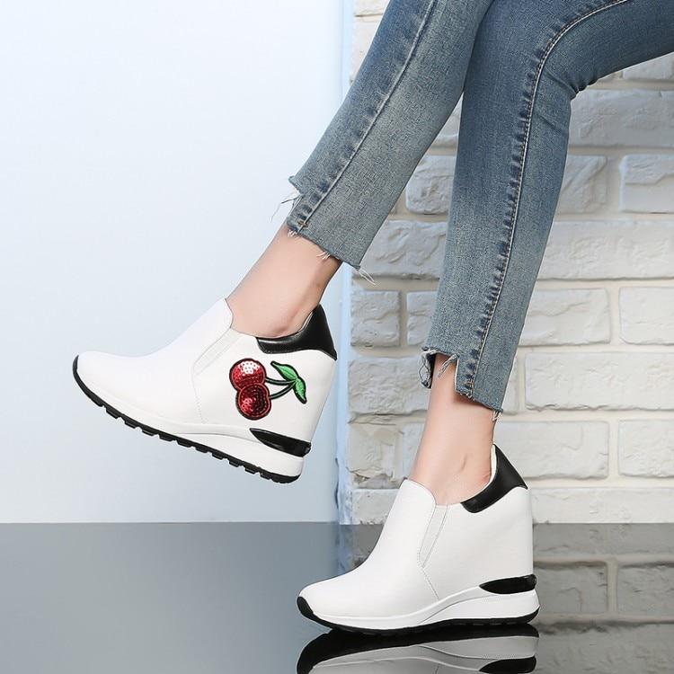 Cuero Tacones Mayor Zapatos Plataforma Genuino blanco Ocio De Altos Bombas {zorssar} Interna 2018 Moda Nueva Casual Mujer Negro wxzqXpX4P
