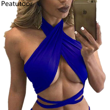 Sexy mujer Crop Top 2018 verano Cross Straps Tops damas Nightclubs chaleco  elástico camisola Color caramelo 64c201fbc52f