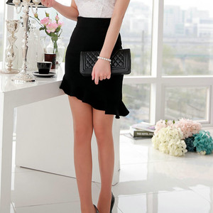 Image 5 - NEW Girls  Black Elasticity High Waist  Skirts Sexy Asymmetry Ruffles Skirt  Slim  Women Tight Bias Skirt